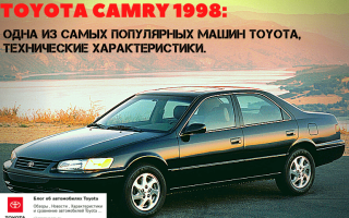 Характеристики Toyota Camry 1998 года