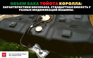 🚗Вместимость топливного бака разных модификаций авто марки Toyota Corolla