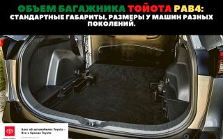 🚗Габариты багажника на разных модификациях авто марки Toyota RAV4