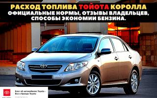 🏁Нормы расхода горючего Toyota Corolla на 100 км по городу и на трассе