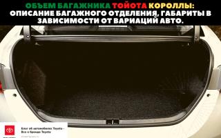 🚗Размеры багажного отделения автомобилей Toyota Corolla разного поколения