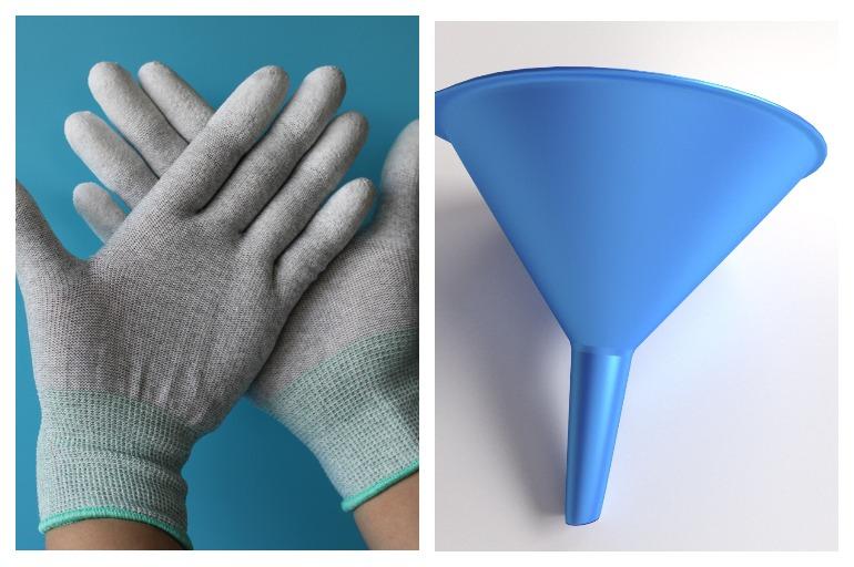 Защитные перчатки и воронка